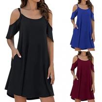 Sexy Off-shoulder Lotus Sleeve Solid Color Loose Dress