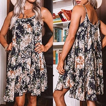Sexy Backless Round Neck Loose Sling Printed Dress