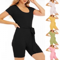 Simple Style Short Sleeve U-neck Solid Color Tie-belt Stretch Sports Yoga Romper