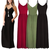 Casual Style Backless High Waist Front-pocket Sling Maxi Dress