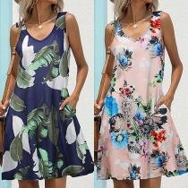 Simple Style Sleeveless V-neck Front-pocket Printed Tank Dress