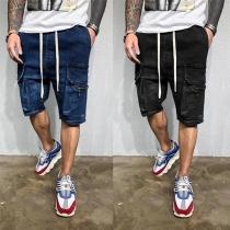 Fashion Drawstring Waist Side-pocket Man's knee-length Denim Shorts