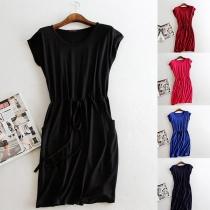 Simple Style Short Sleeve Round Neck Drawstring Waist Pocket Dress