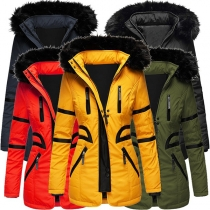 Fashion Contrast Color Long Sleeve Faux Fur Spliced Hooded Padded Coat