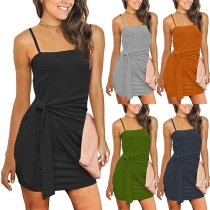 Fashion Solid Color Sleeveless Round Neck Lace-up Knotted Dress