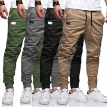 Casual Style Solid Color Middle Waist Elastic Leg Opening Man's Pants