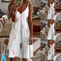 Sexy Backless V-neck Loose Printed Sling Dress