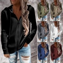 Fashion Solid Color Long Sleeve Hooded Front-zipper Knit Cardigan