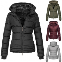 Fashion Solid Color Long Sleeve Hooded Short-style Padded Coat