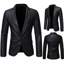 Fashion Long Sleeve Solid Color Slim Fit Man's PU Leather Jacket Suit Coat