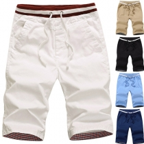 Simple Style Solid Color Middle Waist Man's Knee-length Shorts