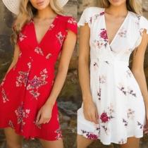 Sexy V-neck Short Sleeve High Waist Printed SUmmer Dress