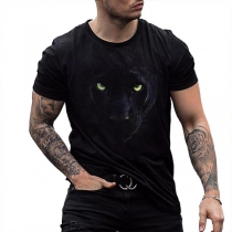 Casual Style Short Sleeve Round Neck Wolf Printed Man's T-shirt