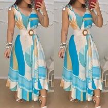 Sexy V-neck Sleeveless High Waist Irregular Hem Printed Dress