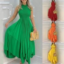 Elegant Solid Color Sleeveless Round Neck High Waist Irregular Hem Wrinkled Dress