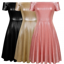 Sexy Off-shoulder Boat Neck Short Sleeve High Waist Solid Color Party Dress