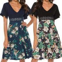 Sweet Style Lotus Sleeve V-neck High Waist Printed Spliced Hem Dress