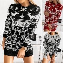 Fashion Long Sleeve Round Neck Elk Snowflake Pattern Knit Dress