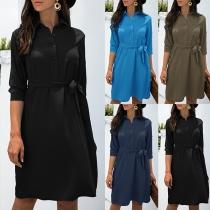 OL Style Long Sleeve POLO Collar Shirt Dress with Waist Strap