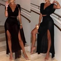 Sexy V-neck Sleeveless Crop Top + High Waist Slit Hem Skirt Two-piece Set