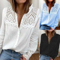 Sweet Style Long Sleeve Ruffle Stand Collar Solid Color Lace Spliced Shirt