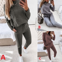 Fashion Solid Color Long Sleeve Mock Neck Sweatshirt + Pants Two-piece Set