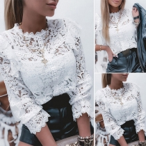 Sexy Long Sleeve Round Neck Solid Color Hollow Out Lace Top