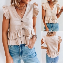 Sweet Style Ruffle Cuff Hem V-neck Single-breasted Solid Color Top