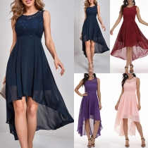 Sexy Lace Spliced Sleeveless Round Neck High-low Hem Chiffon Dress