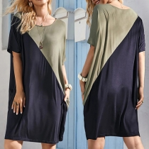 Fashion Contrast Color Short Sleeve Round Neck Loose T-shirt Dress