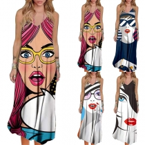 Cute Cartoon Human Face Pattern Backless V-neck Sling Dress