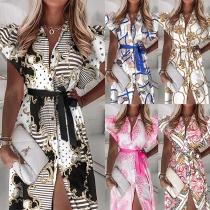 Sweet Style Ruffle Cuff POLO Collar Slit Hem Printed Dress