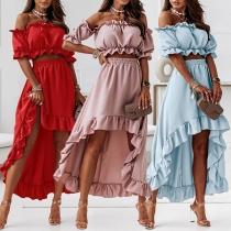 Sexy Off-shoulder Puff Sleeve Crop Top + High-low Hem Skirt Two-piece Set