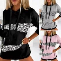 Fashion Contrast Color Leopard Spliced Long Sleeve Hooded Loose Sweatshirt