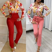 OL Style Long Sleeve POLO Collar Printed Shirt + High Waist Pants Two-piece Set