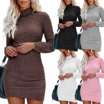 Fashion Solid Color Long Sleeve Turtleneck Slim Fit Knit Dress