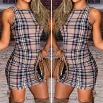 Fashion Sleeveless Round Neck Side-drawstring Slim Fit Plaid Dress