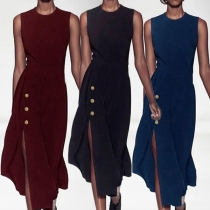 Elegant Solid Color Sleeveless Round Neck Solid Color Slim Fit Dress
