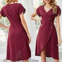 Sexy V-neck Short Sleeve Irregular Hem Solid Color Dress