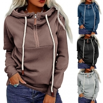 Casual Style Long Sleeve Hooded Front-zipper Drawstring Sweatshirt