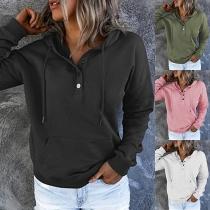 Casual Style Long Sleeve Hooded Solid Color Loose Sweatshirt