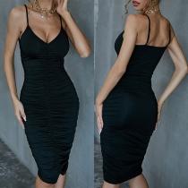Sexy Backless V-neck Solid Color Slim Fit Sling Wrinkled Dress