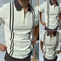 Fashion Contrast Color Short Sleeve POLO Collar Man's T-shirt
