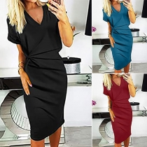 Sexy V-neck Short Sleeve Solid Color Twisted Slim Fit Dress