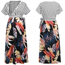 Sexy V-neck Short Sleeve High Waist Striped Spliced Maternity Dress