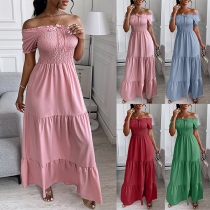 Sexy Off-shoulder Boat Neck Short Sleeve High Waist Solid Color Maxi Dress