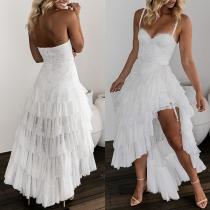 Sexy Backless Slim Fit Sling Dress + Irregular Hem Skirt Two-piece Set
