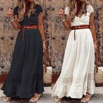Sexy V-neck High Waist Lace Spliced Solid Color Maxi Dress