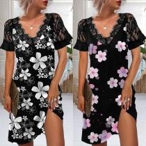 Fashion Lace Spliced Short Sleeve V-neck Printed Dress