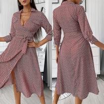 Sexy V-neck 3/4 Sleeve Tie-belt Printed Shirt Dress